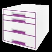 Cabinet cu sertare 4 sertare alb/mov LEITZ WOW