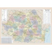 Harta plastifiata Romania administrativ-rutiera 140 x 100cm AMCO PRESS