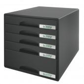 Cabinet cu sertare 5 sertare negru LEITZ Plus