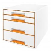 Cabinet cu sertare 4 sertare alb/portocaliu LEITZ WOW