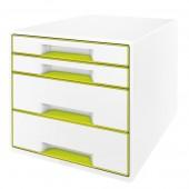 Cabinet cu sertare 4 sertare alb/verde LEITZ WOW