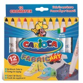 Carioca pentru textile, varf gros 6mm, 12 culori/cutie, CARIOCA CromaTex