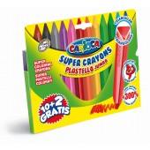 Creioane cerate triunghiulare, lavabile, 12 culori/cutie, CARIOCA Pastello Jumbo