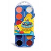 Acuarele lavabile, 12 culori/set + pensula, CARIOCA