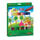 Creioane cerate soft, triunghilare, cutie carton, 24 culori/cutie, ALPINO DacsTrix