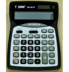 Calculator 16 dig. cu operatii complete, design modern, display mare, carcasa argintiu cu negru