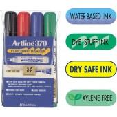 Flipchart marker ARTLINE 370 - Dry safe ink, corp plastic, varf rotund 2.0mm, 4 culori/set